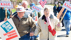 Picture of GE Retirees in Erie during an April rally for pension improvement ...