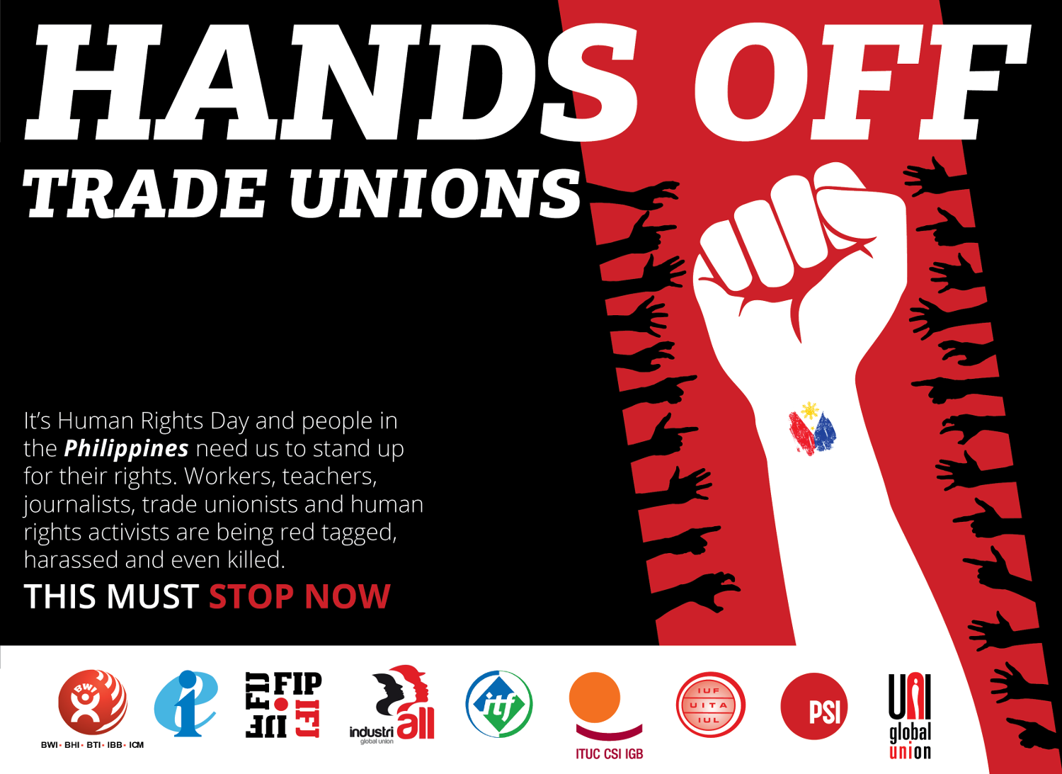 "Poster reading ""Hands off trade unions"" with logos of various global union federations and short text explaining the situation discussed on this web page"