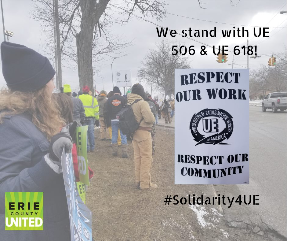 "Photo of Erie County United members joining UE members on the picket line, with ""Respect Our Work, Respect Our Community"" picket sign and text ""We stand with UE 506 & UE 618 #Solidarity4UE"""