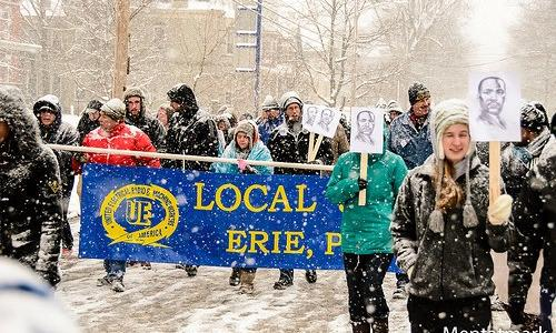 UE Local 506 members marching in the snow