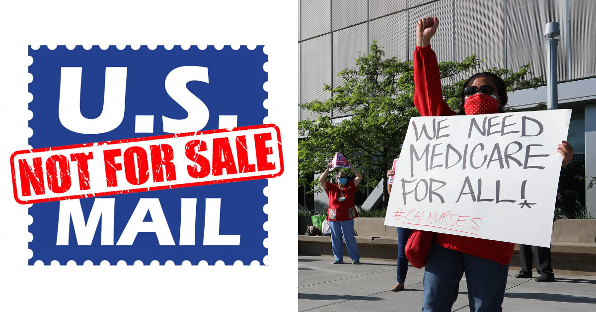 Left: US Mail Not for Sale logo, Right: photo of woman with raised fist holding We Need Medicare For All sign