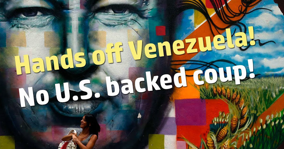 """Hands off Venezuela! No U.S. backed coup!"" superimposed over photo of a woman in front of a mural"