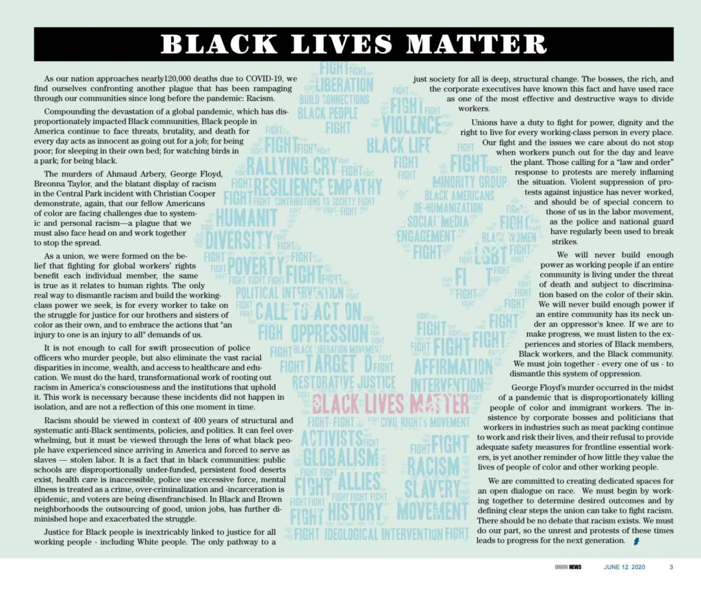 Black Lives Matter statement from UE Local 506