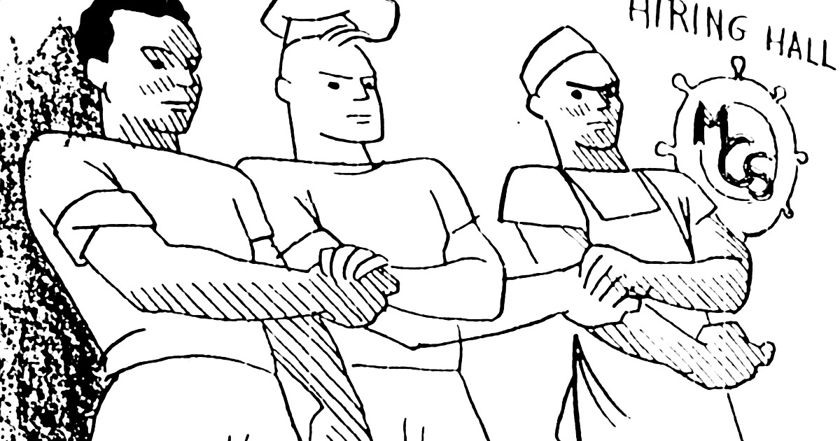Cartoon drawing of three men holding hands in front of an MCS logo and the words Hiring Hall