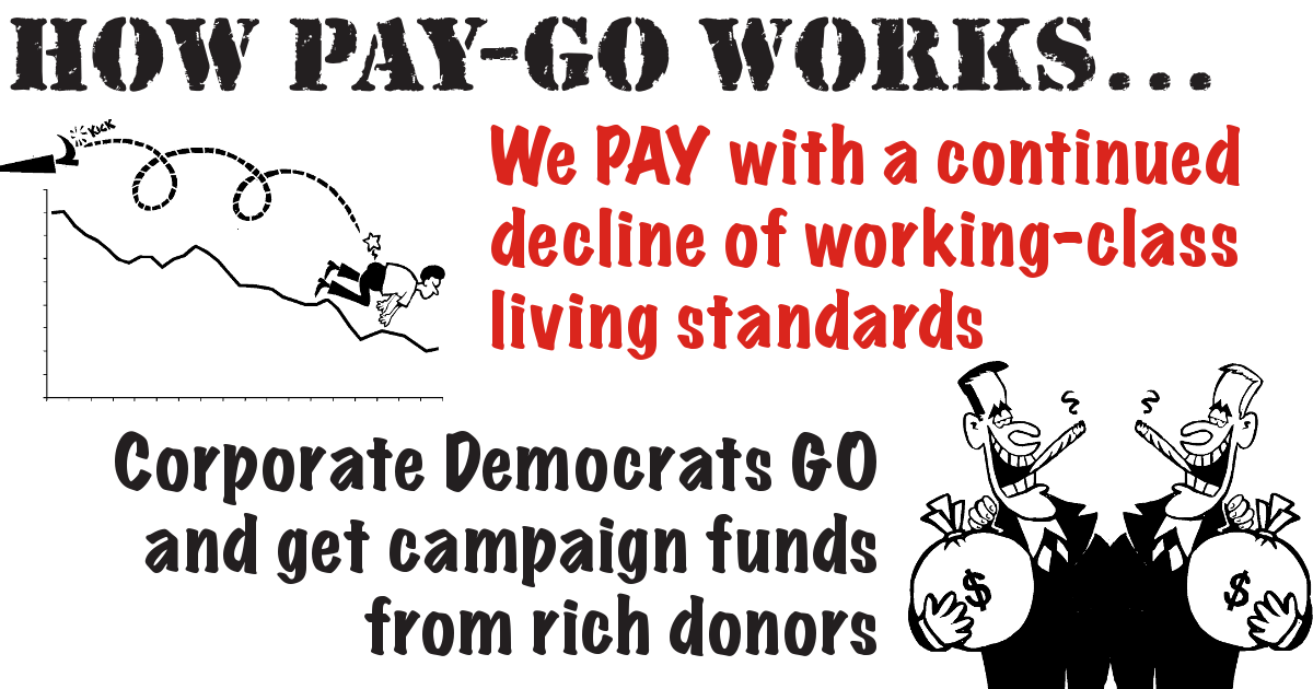 "Cartoon: ""How Pay-Go Works: We PAY with a continued decline of working-class living standards, Corporate Democrats GO get campaign funds from rich donors"""