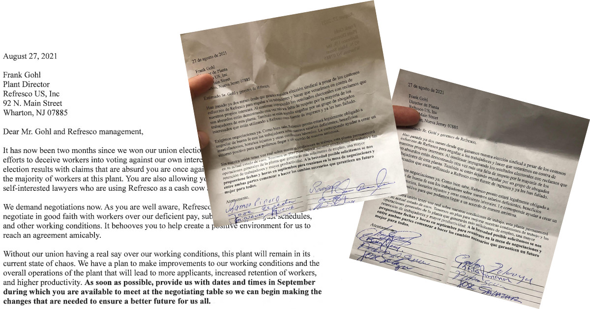 English text of letter referenced in the article, with photos of two copies of the letter in Spanish, with signatures