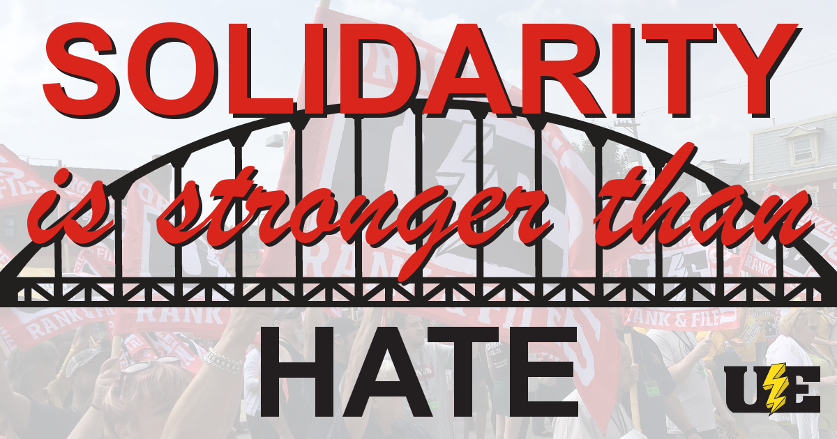 "Image of UE members with flags, with a bridge graphic superimposed, and the words ""Solidarity is stronger than hate"""