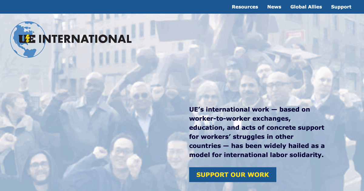 Screenshot of UE International website