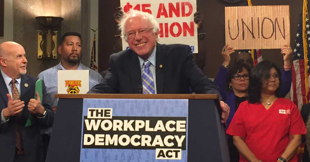 Senator Bernie Sanders introduces Workplace Democracy Act