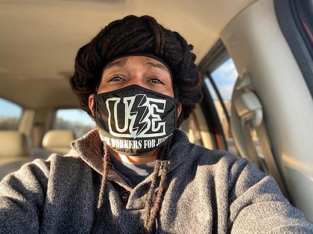 Chris Hollis wearing UE mask