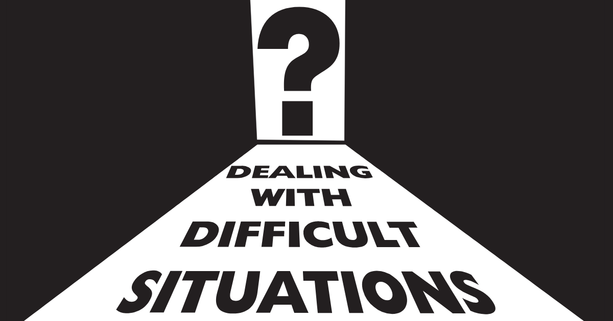 "Question mark in a door, with words ""Dealing with Difficult Situations"" in the path leading towards the door"