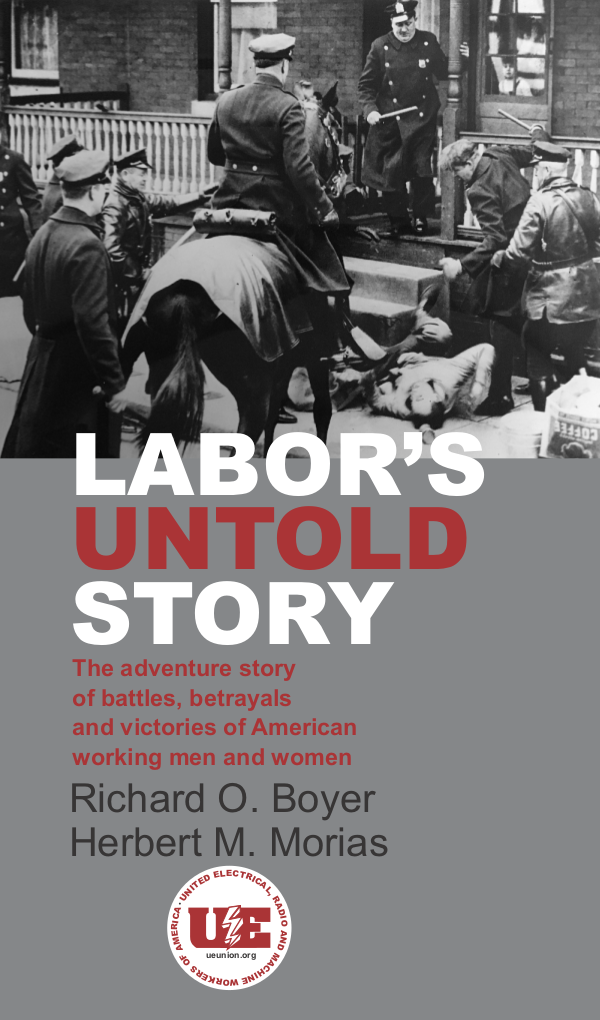 Labor's Untold Story book cover depicting a striker being beaten by police on horseback