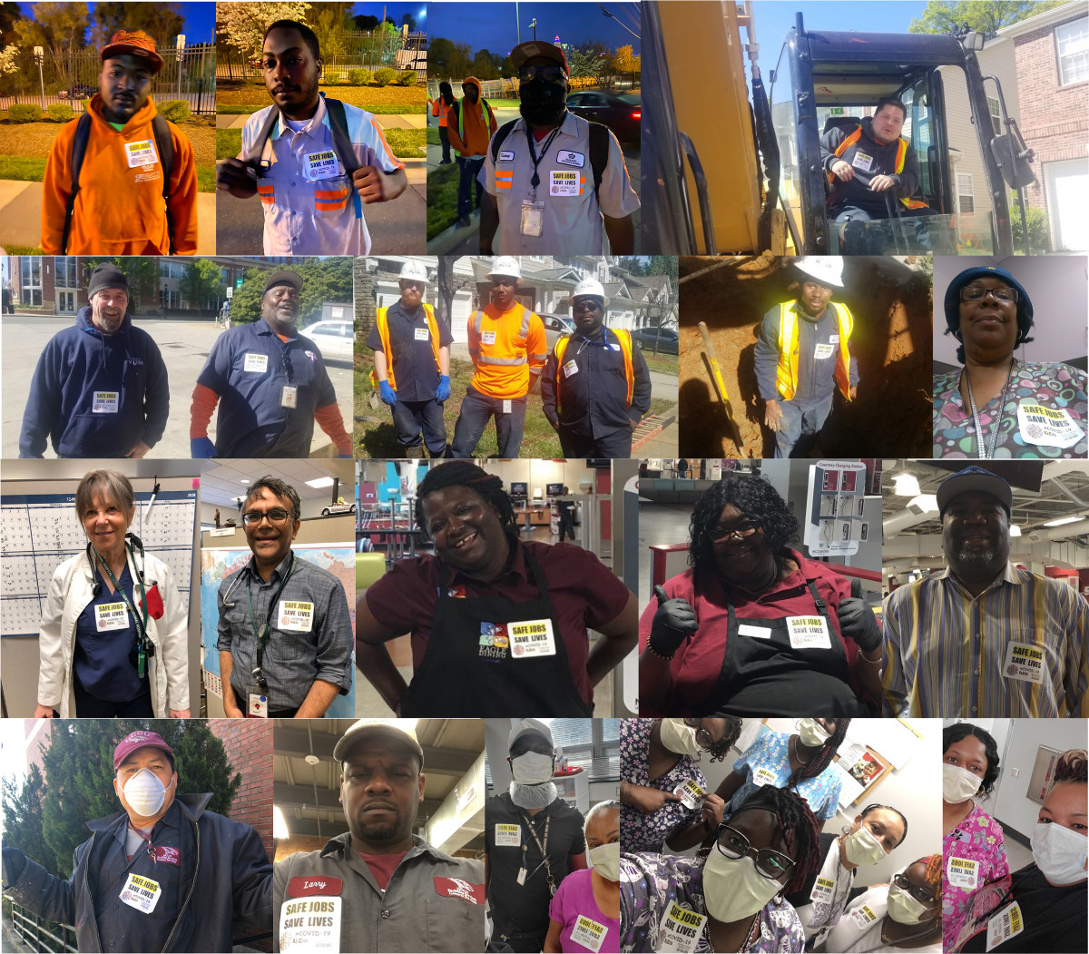 Montage of photos of workers wearing Safe Jobs Save Lives stickers
