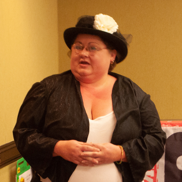 Local 170 Vice President Leslie Riddle dressed up as Mother Jones