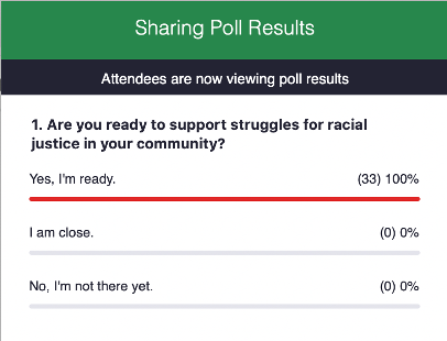 "Zoom Poll: ""Are you ready to support struggles for racial justice in your community?"" with 100% answering yes"