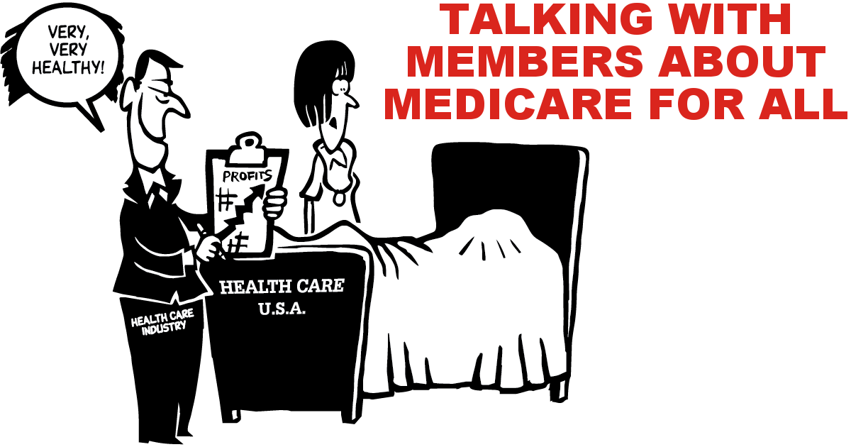 """Cartoon of a nurse looking at a patient under the covers in a bed, while an health care executive looks at a chart showing profits going up and says """"Very, very healthy!"""""""