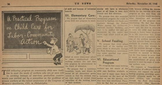 """UE NEWS article titled """"A Practical Program on Child Care for Labor-Community Action"""""""