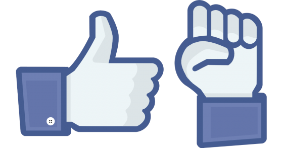 Image of a Facebook thumbs-up icon and another icon of a raised fist in a similar style
