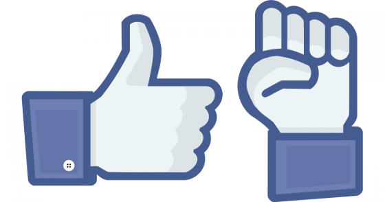 "Image of a thumbs-up ""like"" icon and next-to-it a raised-fist icon in a similar, Facebook-like style"