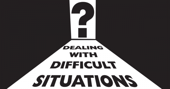 "The words ""Dealing with Difficult Situations"" on a path leading to a doorway with a big question mark"