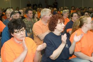 Members express support for their bargaining committee on April 30, the final day of negotiations.