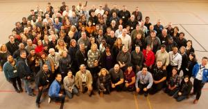 Group shot of UE, Unifor and other union members