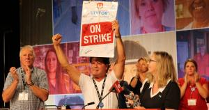 Unifor National President Jerry Dias celebrates solidarity with striking members