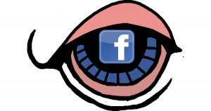 Big eye with a Facebook logo as the pupil